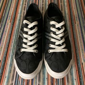 Coach Black Canvas Tennis Shoes Wom Sz 7.5